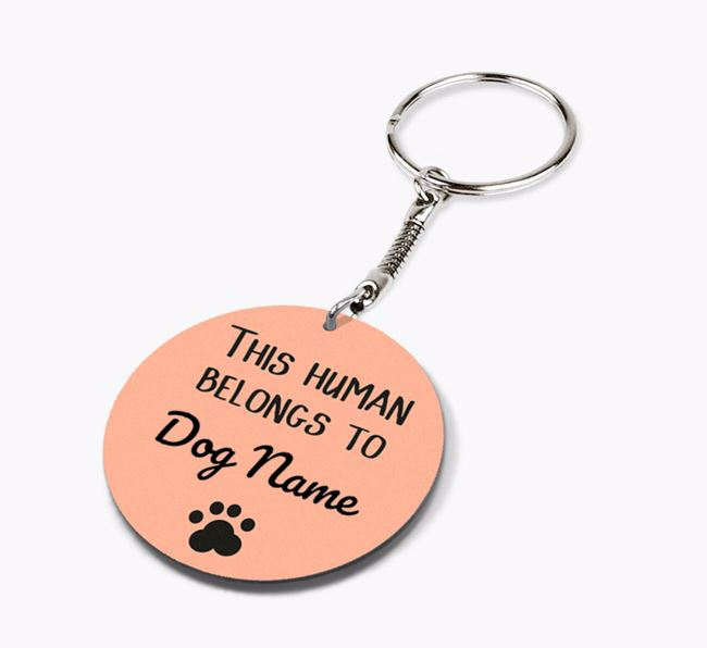 Personalised 'This human belongs to Your Dog' Double-sided Keyring