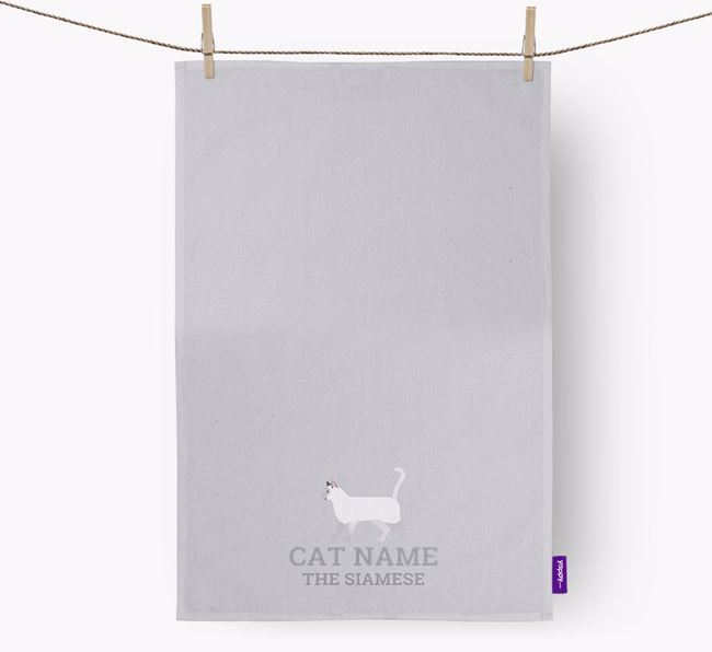 Personalized 'Your Cat The Siamese' Dish Towel