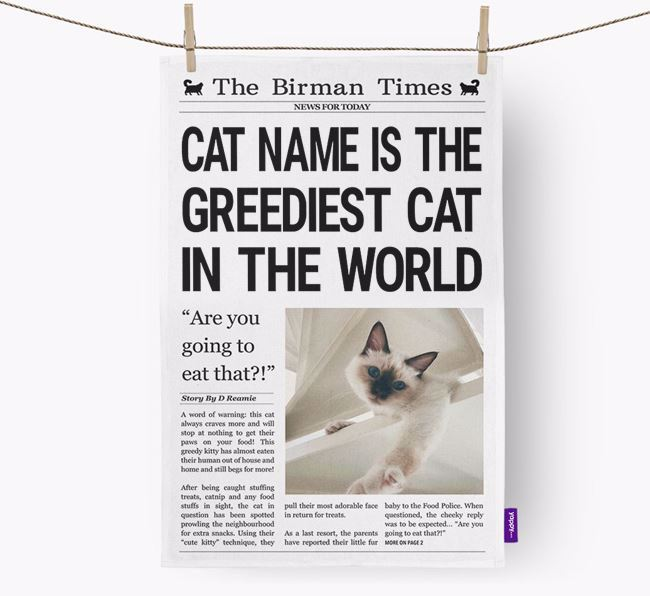 The Cat Times 'Greediest Cat In The World' Personalised Tea Towel