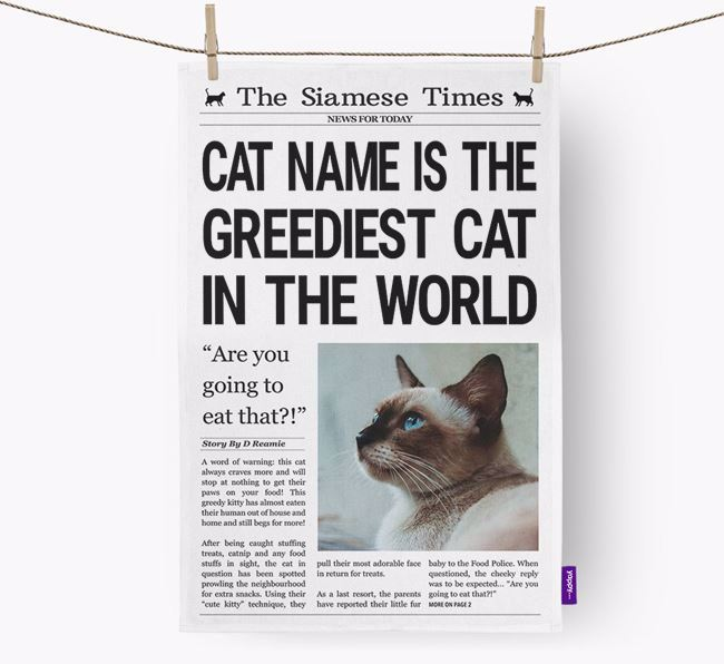 The Siamese Times 'Greediest Cat In The World' Personalised Dish Towel
