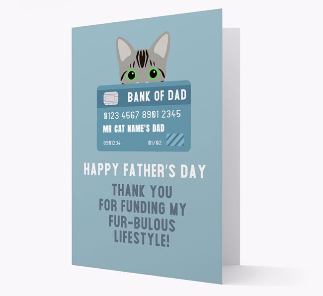 'Bank of Dad' - Personalized Bengal Father's Day Card