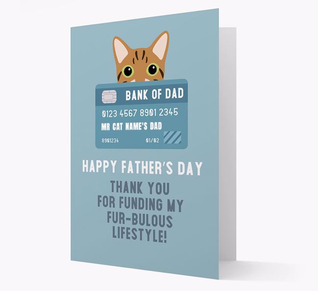 'Bank of Dad' - Personalized Cat Father's Day Card