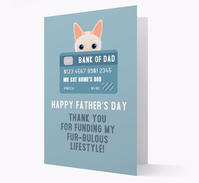 'Bank of Dad' - Personalized Siamese Father's Day Card