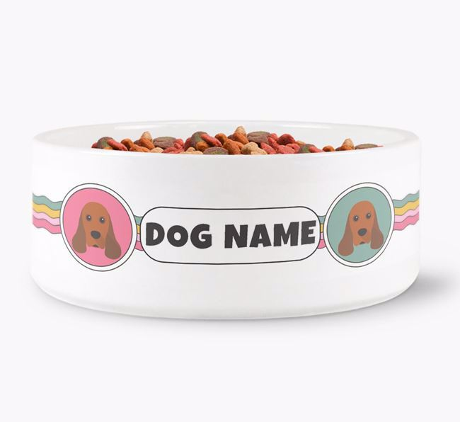 Rainbow Waves - Personalised Dog Bowl for your American Cocker Spaniel