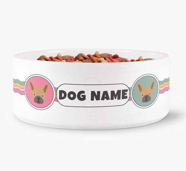 Rainbow Waves - Personalised Dog Bowl for your French Bulldog