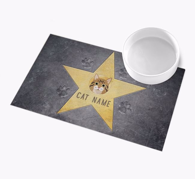 'Star of Fame' - Personalised Cat Feeding Mat