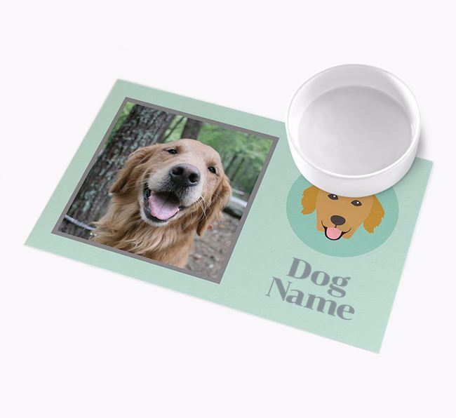 Photo Upload with Icon - Personalised Golden Retriever Feeding Mat