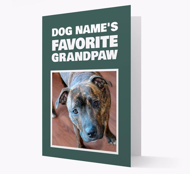 'Favorite Grandpaw' - Personalized Staffordshire Bull Terrier Card