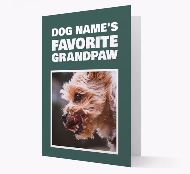 'Favorite Grandpaw' - Personalized Yorkshire Terrier Card