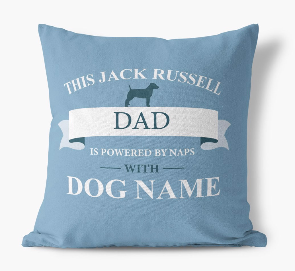 Personalized 'This Dog Dad is powered by naps with {dogsName}' Canvas Pillow with Dog Silhouette