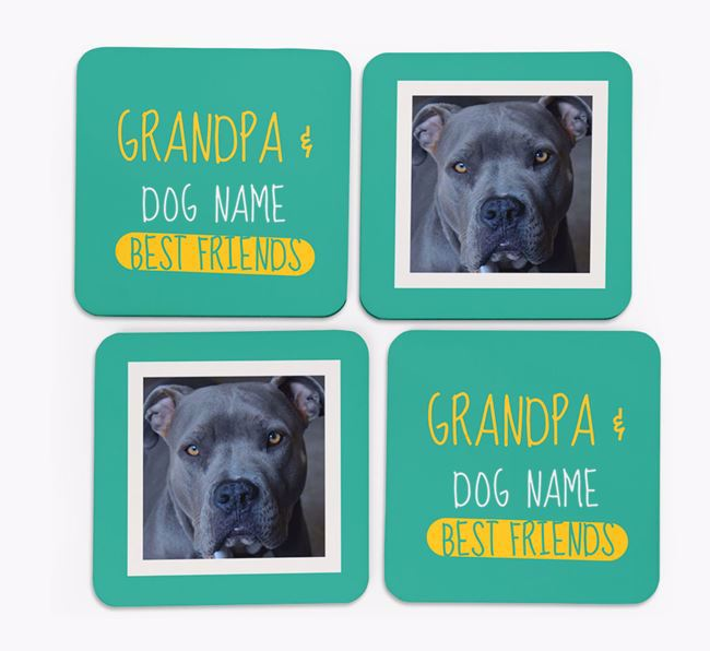 'Grandpa's Best Friend' with American Pit Bull Terrier Photo Coasters in Set of 4