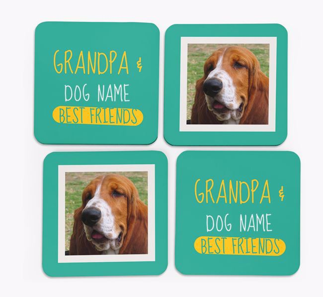 'Grandpa's Best Friend' with Basset Hound Photo Coasters in Set of 4