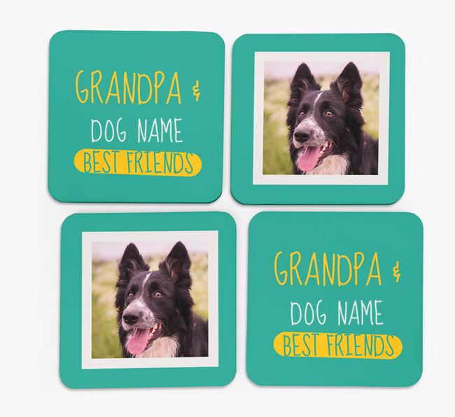 'Grandpa's Best Friend' with Border Collie Photo Coasters in Set of 4