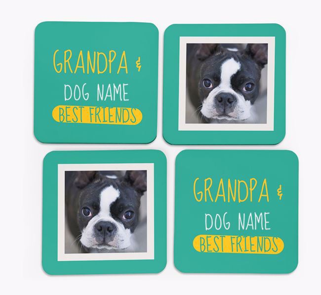 'Grandpa's Best Friend' with Boston Terrier Photo Coasters in Set of 4