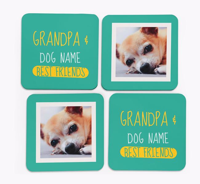 'Grandpa's Best Friend' with Chihuahua Photo Coasters in Set of 4