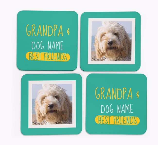 'Grandpa's Best Friend' with Cockapoo Photo Coasters in Set of 4