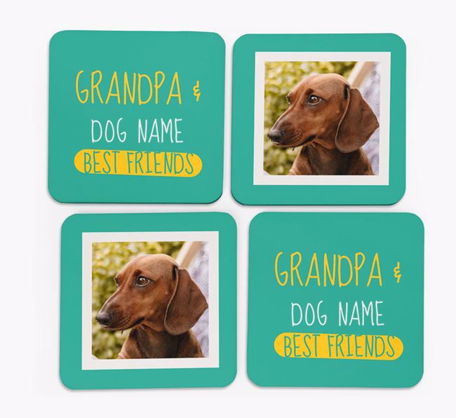 'Grandpa's Best Friend' with Dachshund Photo Coasters in Set of 4
