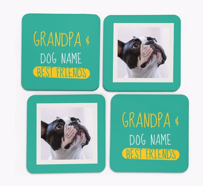 'Grandpa's Best Friend' with French Bulldog Photo Coasters in Set of 4