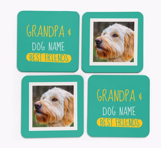 'Grandpa's Best Friend' with Goldendoodle Photo Coasters in Set of 4