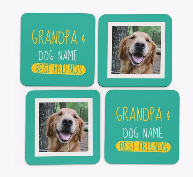 'Grandpa's Best Friend' with Golden Retriever Photo Coasters in Set of 4