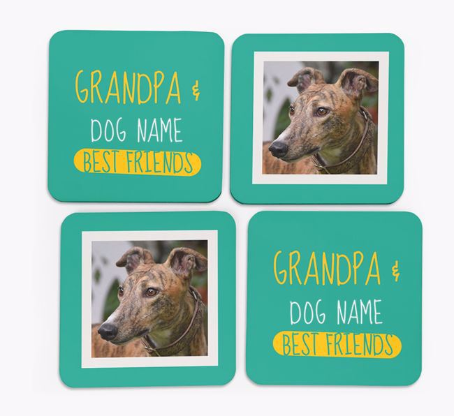 'Grandpa's Best Friend' with Greyhound Photo Coasters in Set of 4