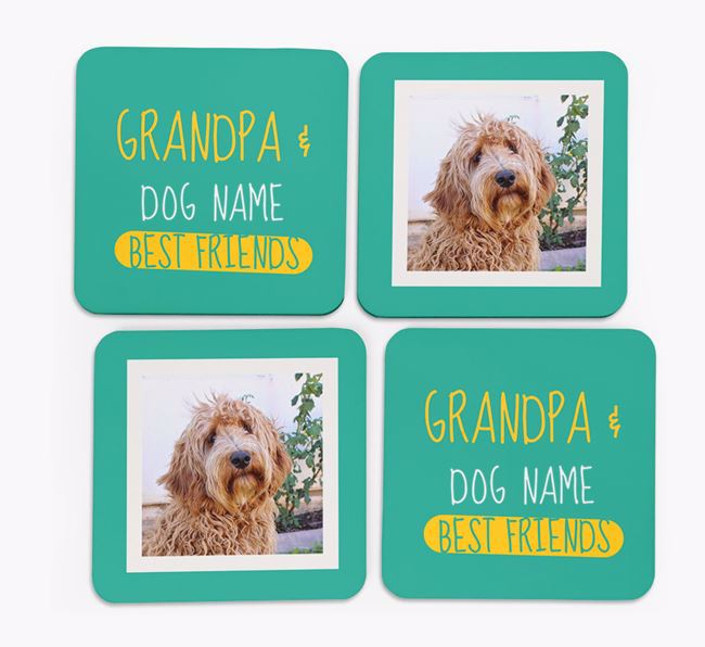 'Grandpa's Best Friend' with Labradoodle Photo Coasters in Set of 4