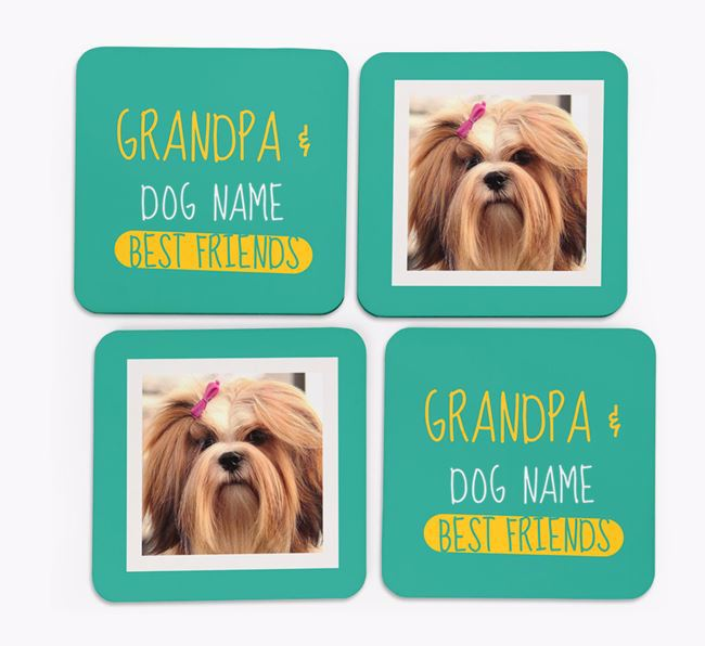 'Grandpa's Best Friend' with Lhasa Apso Photo Coasters in Set of 4