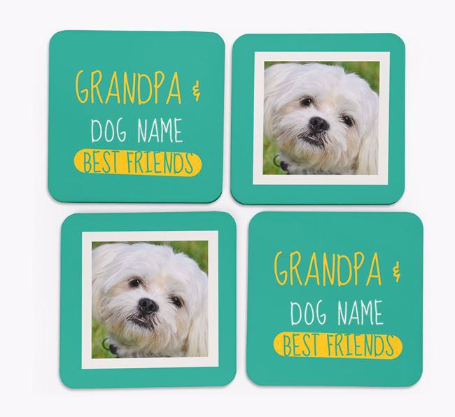 'Grandpa's Best Friend' with Maltese Photo Coasters in Set of 4
