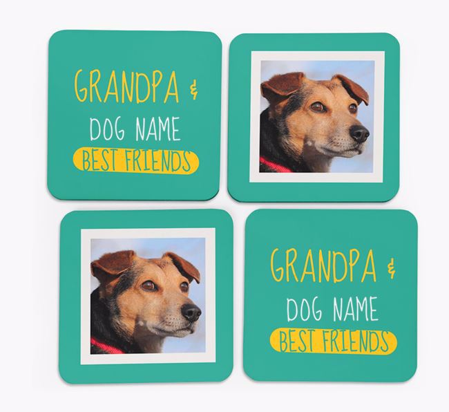 'Grandpa's Best Friend' with Old English Sheepdog Photo Coasters in Set of 4