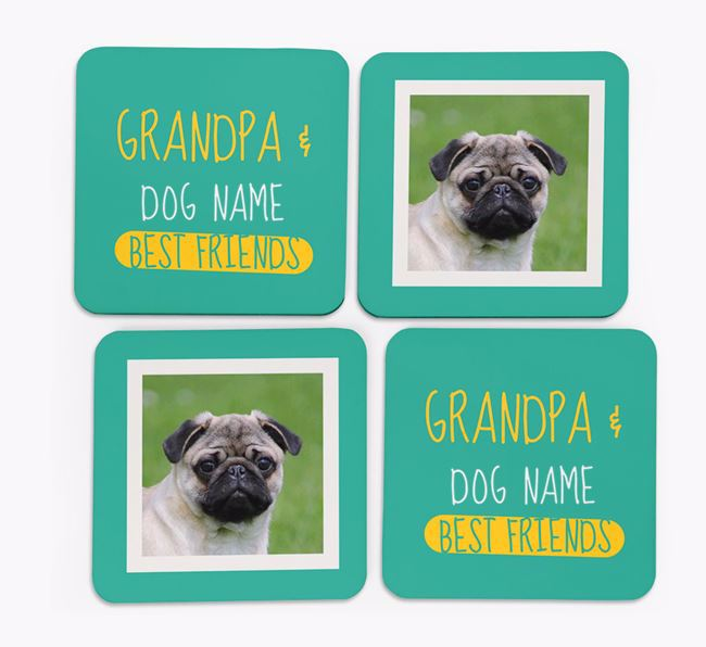 'Grandpa's Best Friend' with Pug Photo Coasters in Set of 4