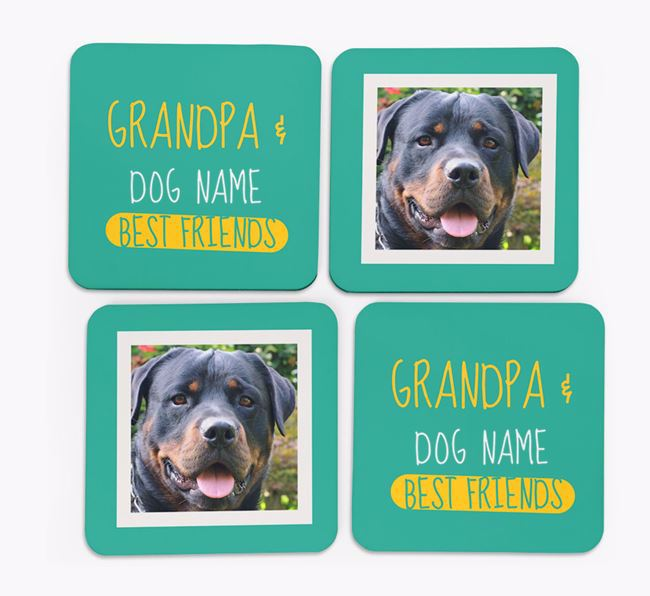 'Grandpa's Best Friend' with Rottweiler Photo Coasters in Set of 4