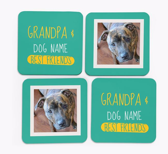 'Grandpa's Best Friend' with Staffordshire Bull Terrier Photo Coasters in Set of 4