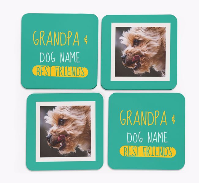 'Grandpa's Best Friend' with Yorkshire Terrier Photo Coasters in Set of 4