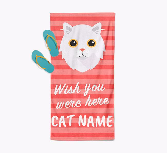 'Wish You Were Here' - Personalised Cat Towel