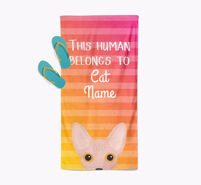 'This Human Belongs to...' - Personalised Cat Towel | Yappy.com
