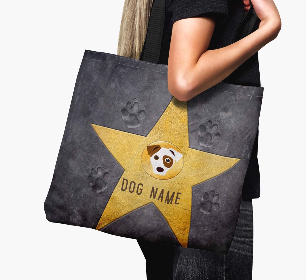 Woman holding Personalized {dogsName}s 'Star of Fame' Canvas Bag