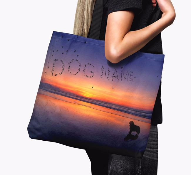 Canvas Bag 'Sunset Beach' with King Charles Spaniel Silhouette