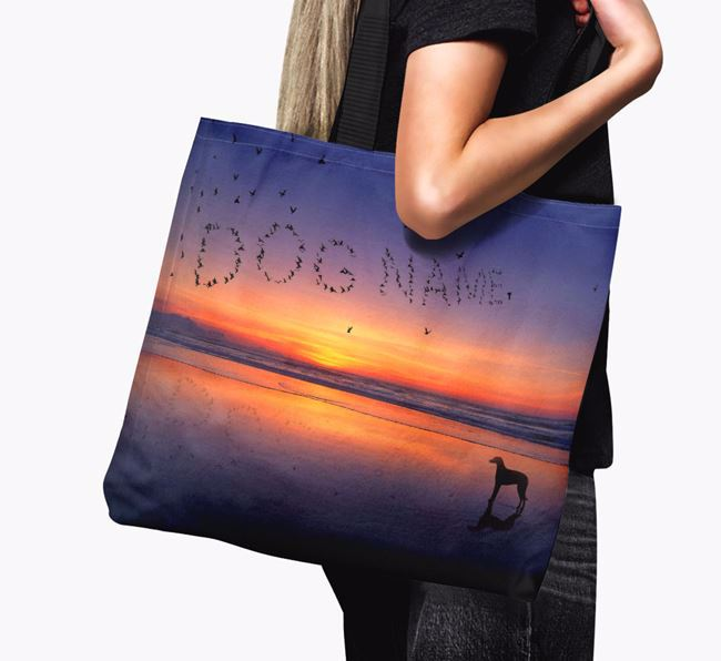 Canvas Bag 'Sunset Beach' with Lurcher Silhouette