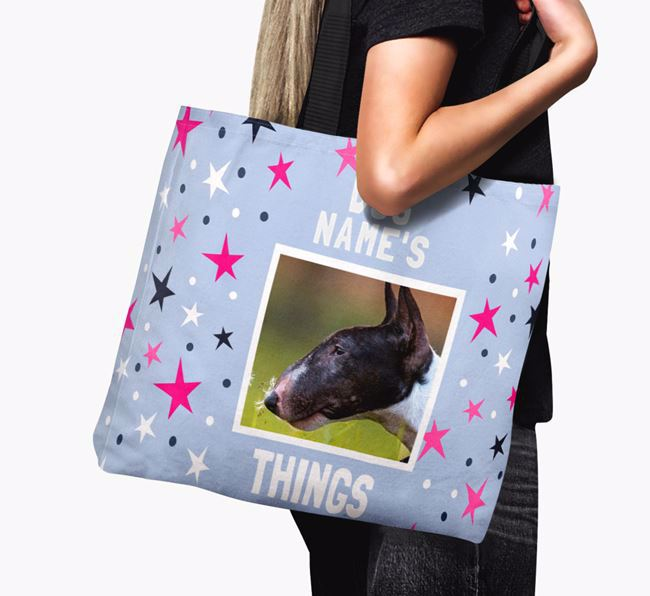 Personalised Bull Terrier Photo Upload Canvas Bag