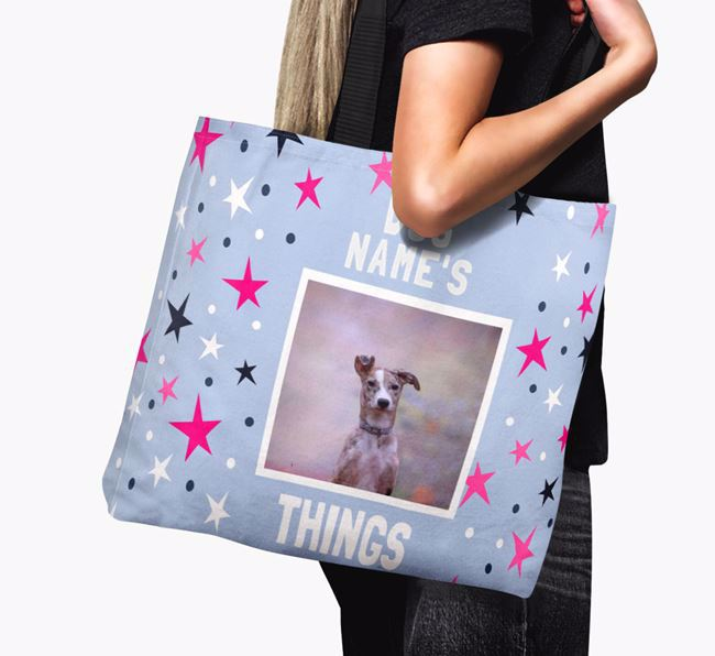Personalised Lurcher Photo Upload Canvas Bag