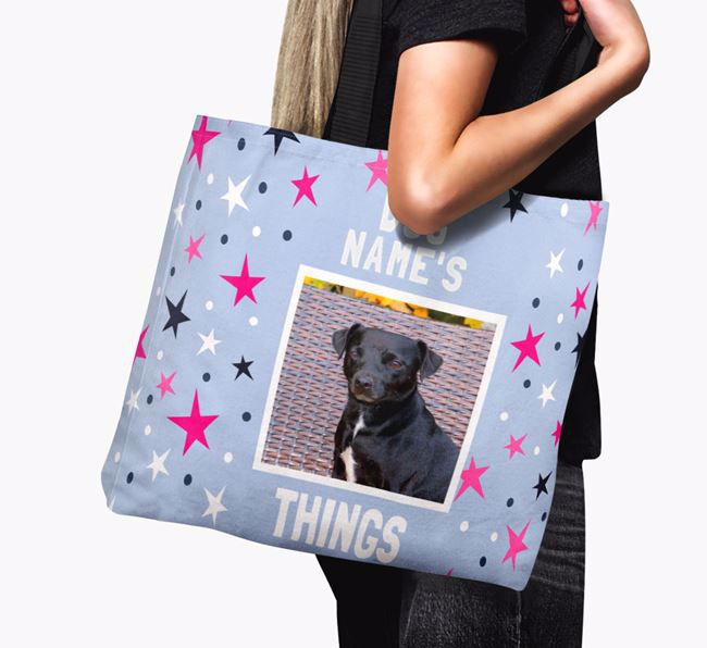 Personalised Patterdale Terrier Photo Upload Canvas Bag