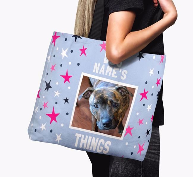 Personalised Staffordshire Bull Terrier Photo Upload Canvas Bag
