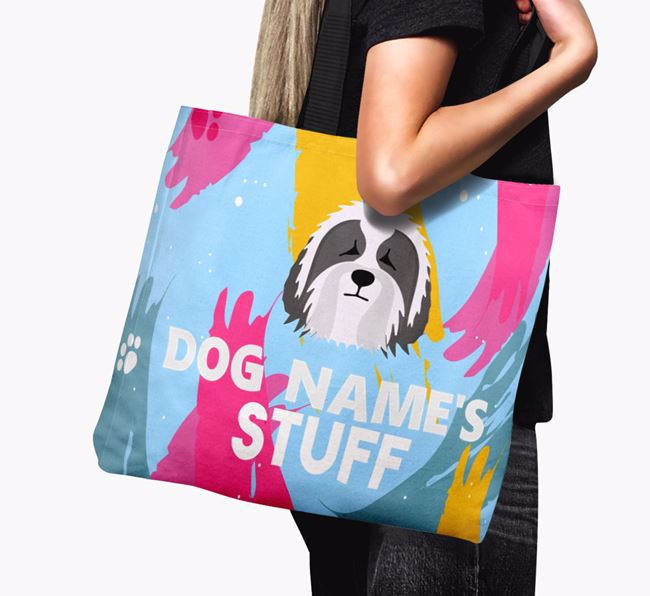 'Paint Splatter' - Personalized Bearded Collie Canvas Bag