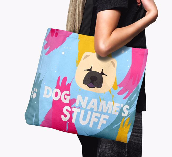 'Paint Splatter' - Personalised Chow Chow Canvas Bag