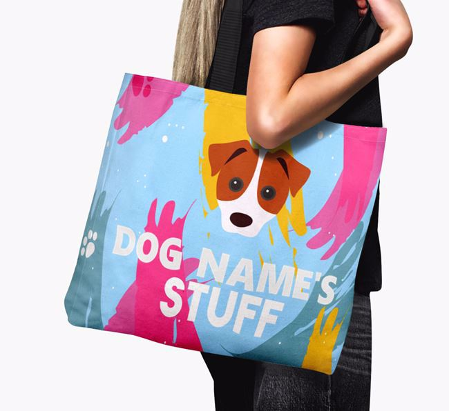 'Paint Splatter' - Personalised Parson Russell Terrier Canvas Bag