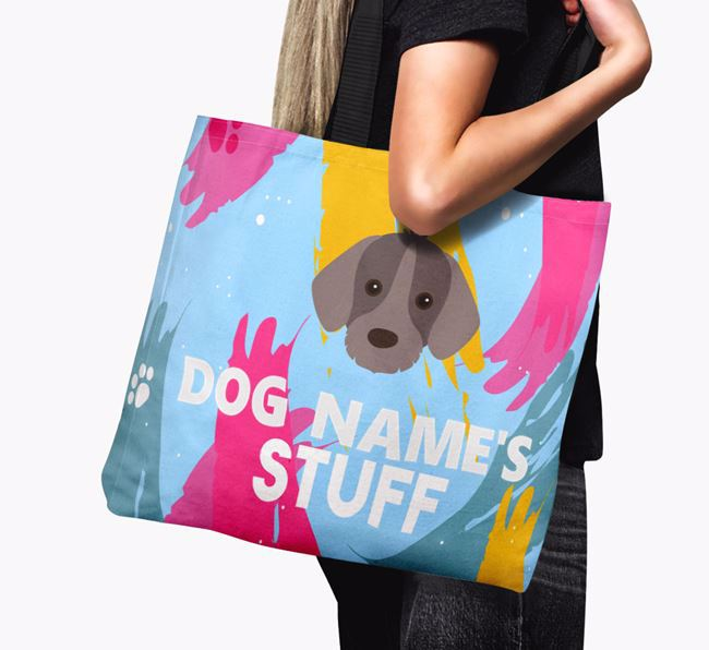 'Paint Splatter' - Personalised Slovakian Rough Haired Pointer Canvas Bag