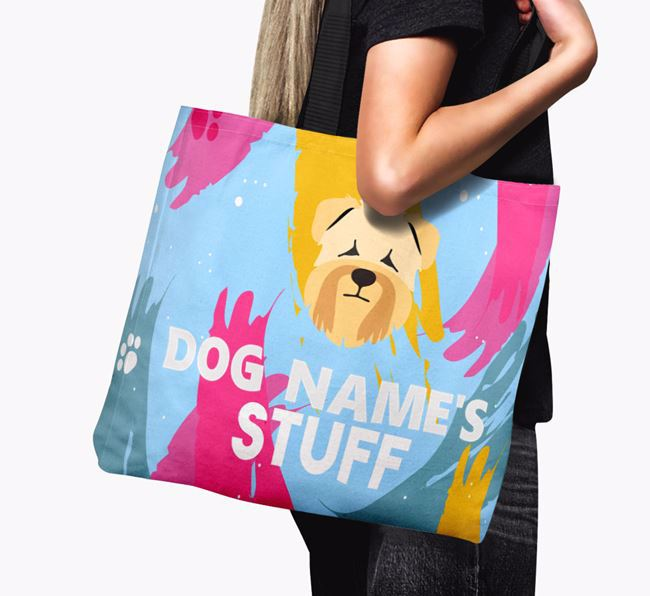 'Paint Splatter' - Personalised Soft Coated Wheaten Terrier Canvas Bag