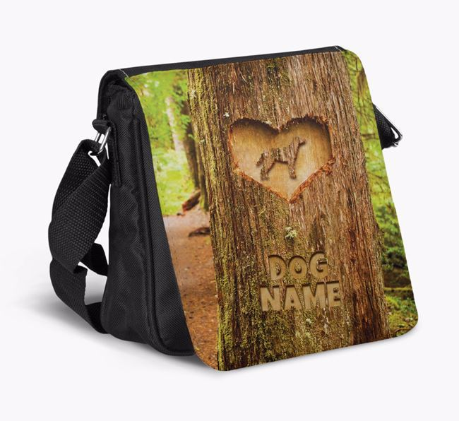 Personalized 'Your Dog's Tree Carving' Shoulder Bag with Blue Lacy Silhouette