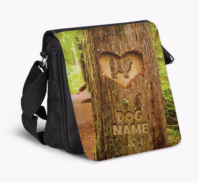 Personalized 'Your Dog's Tree Carving' Shoulder Bag with Pyrenean Mastiff Silhouette