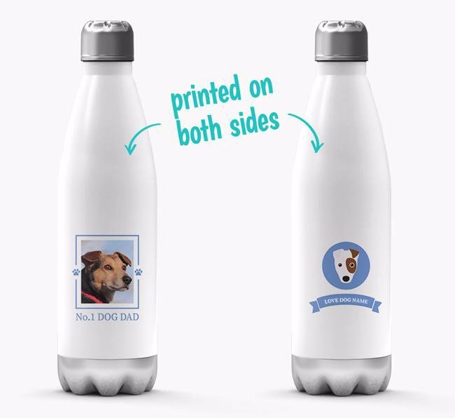 'No.1 Dog Dad'- Personalized Fox Terrier Water Bottle